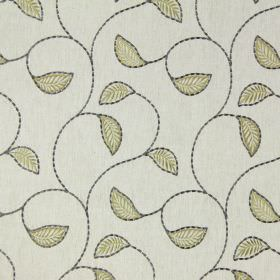 Burghley - Linen - White fabric embroidered with curving grey vines and simple green leaves edged in grey