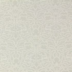 Claydon - Linen - Cotton fabric covered in a busy, ornate pattern in light beige, very pale grey and white