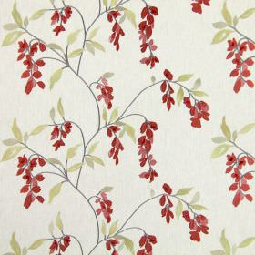 Montague - Cherry - Fabric in white, with green leaves and delicate red flowers hanging from thin grey branches