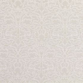 Claydon - Oyster - A repeated, ornate design in very pale grey on a light beige cotton fabric background