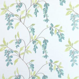 Montague - Duck Egg - White fabric covered in light grey-purple branches, holding up light green leaves and duck egg blue coloured flowers