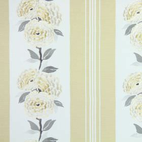 Darcy - Dandelion - Cream-white flowers with light grey leaves embroidered on cream-gold and white striped cotton fabric