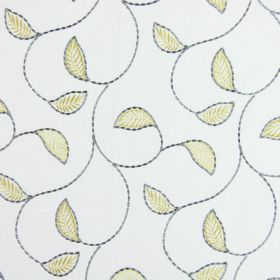Burghley - Dandelion - A simple leaf and vine design in light yellow and grey embroidered on a background of white fabric
