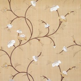 Primrose - Amber - Floral and foliage pattern on amber brown fabric
