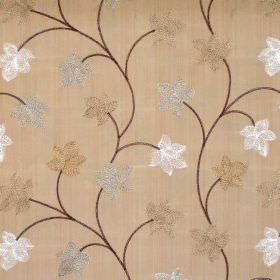 Camelia - Amber - Modern foliage pattern on amber brown fabric