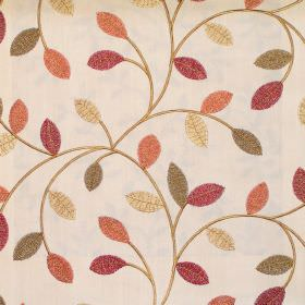 Violet - Antique - Simple modern foliage pattern on antique yellow fabric