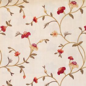 Primrose - Antique - Floral and foliage pattern on antique white fabric