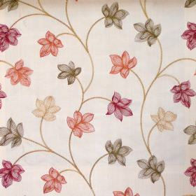 Camelia - Antique - Modern foliage pattern on antique white fabric