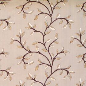 Eliza - Latte - Foliage and vine pattern on latte brown fabric