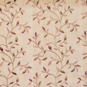 Eliza - Mulberry - Mulberry purple foliage and vine pattern on light brown fabric