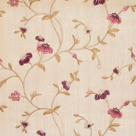 Primrose - Mulberry - Mulberry purple floral and foliage pattern on sandy fabric