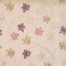 Camelia - Mulberry - Mulberry purple modern foliage pattern on sandy fabric