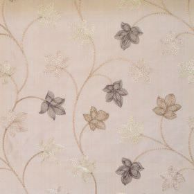 Camelia - Oyster - Modern foliage pattern on oyster white fabric