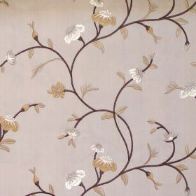 Primrose - Latte - Floral and foliage pattern on latte brown fabric