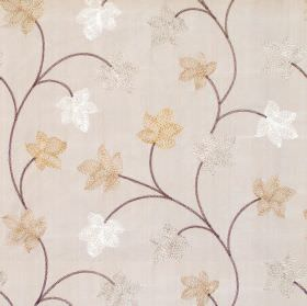 Camelia - Latte - Modern foliage pattern on latte brown fabric