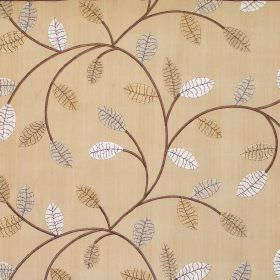 Violet - Amber - Simple modern foliage pattern on amber brown fabric