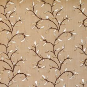 Eliza - Amber - Foliage and vine pattern on amber brown fabric