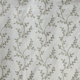 Embleton - Natural - Tiny chrome grey leaves and wavy lines creating an elegant design on light grey polyester, linen and cotton blend fabri