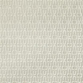 Click - Stone - Small white patterns arranged in rows on a contemporary fabric made from a light grey blend of cotton and polyester