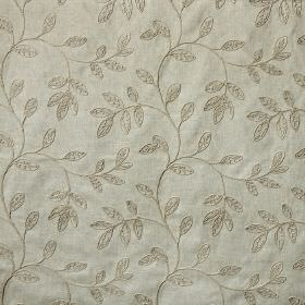 Helvellyn - Sandstone - Leaf patterned fabric made from polyester, linen and viscose in two very similar shades of pewter