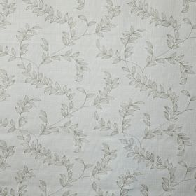 Leaf Trail - Natural - Leaf patterned cotton, linen, viscose and polyester blend fabric featuring a delicate pattern in two light shades of gr