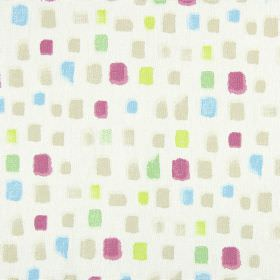 Pip - Vintage - Random squares painted in beige, magenta, blue, green and yellow on a white 100% cotton fabric background