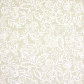 Polly - Linen - Intricate white flowers and leaves against a light beige background of fabric made from 100% cotton