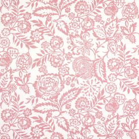 Polly - Rose - White and light red coloured fabric made from 100% cotton, featuring a design of pretty, intricate flowers and leaves