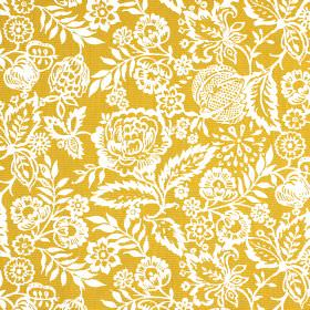 Polly - Marmalade - Fabric made from mustard yellow coloured 100% cotton, with a white pattern of pretty, intricate flowers and leaves