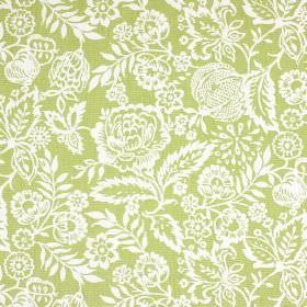 Polly - Sage - An apple green background to an intricate floral and leaf design in white, printed on 100% cotton fabric