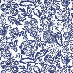 Polly - Indigo - Floral and leaf patterned 100% cotton fabric, with a pretty, ornate design in navy blue on a white background
