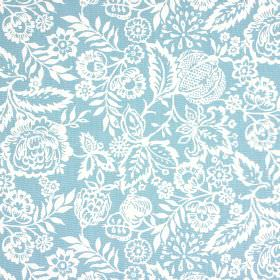 Polly - Azure - 100% cotton fabric made in white and powder blue, featuring a pretty, ornate design of flowers and leaves