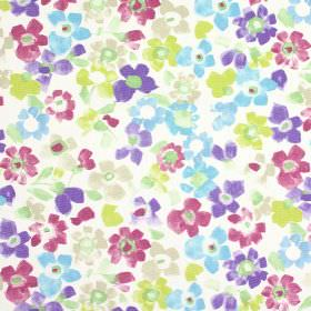 Sweet Pea - Vintage - Multicoloured flowers printed on white 100% cotton fabric in a fun design including blue, purple, green, beige and pin