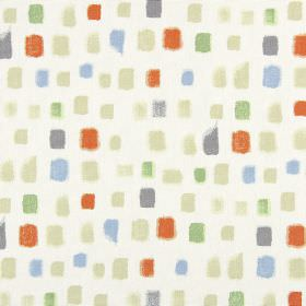 Pip - Paprika - White 100% cotton fabric behind a design of random painted squares in beige, grey, burnt orange, light blue and green