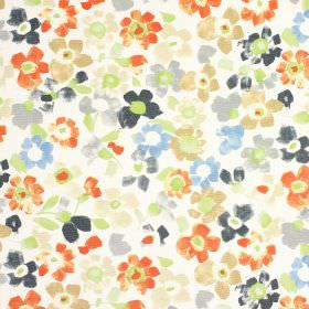 Sweet Pea - Paprika - Stylised floral patterned 100% cotton fabric with a blue, grey, green and orange design printed on a white background