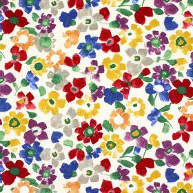 Sweet Pea - Marmalade - 100% cotton fabric printed with brightly coloured flowers in red, blue, purple, mustard yellow, grey, orange and gre