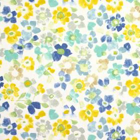 Sweet Pea - Azure - Flowers in yellow, grey, light gold and several different blues printed on a 100% cotton fabric background in white