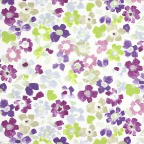 Sweet Pea - Lavender - Lime green, light grey & various shades of purple making up a stylised floral print pattern on white 100% cotton fabr