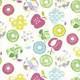 Bramley - Vintage - Fruit print 100% cotton fabric featuring apples and kiwis in light shades of green, blue, purple and raspberry