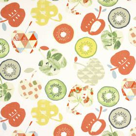 Bramley - Paprika - Patterned apple and kiwi fruit shapes printed in orange, green, yellow and beige shades on white 100% cotton fabric