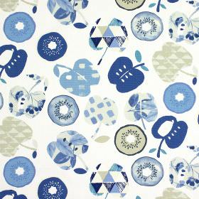Bramley - Indigo - Fabric made entirely from cotton, with a light grey and blue design of plain and patterned apple and kiwi fruit shapes