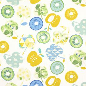 Bramley - Azure - Apple and kiwi fruit shapes printed in shades of green, blue and mustard yellow on 100% cotton fabric in white