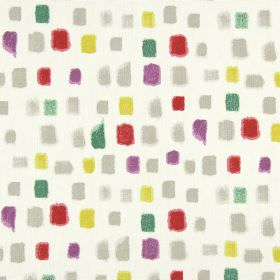 Pip - Marmalade - Fabric made from 100% cotton in white printed with random squares in colours such as grey, red, green, purple and yellow