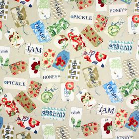 Pantry - Antique - Multicoloured patterned tags printed with the names of storecupboard ingredients onbeige fabric made from 100% cotton