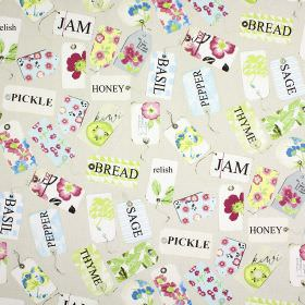 Pantry - Vintage - Beige 100% cotton fabric printed with multicoloured patterned tags, printed with the names of storecupboard ingredients
