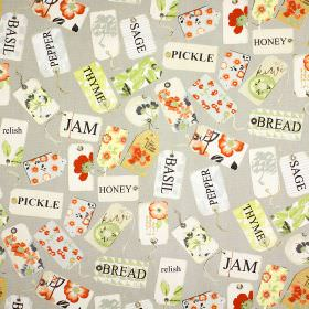 Pantry - Paprika - Storecupboard ingredient names printed on bright, multicoloured patterned tags, on 100% cotton fabric in light grey