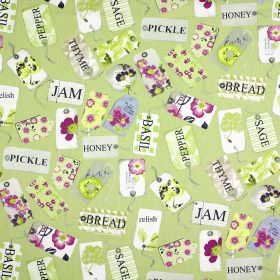 Pantry - Lavender - 100% cotton fabric printed with tags and the names of storecupboard ingredients, mostly in light green, purple and white