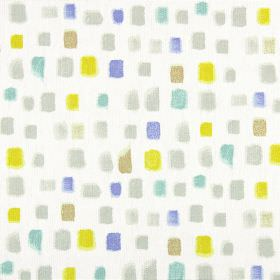 Pip - Azure - 100% cotton fabric printed with small, random painted squares in grey, yellow, turquoise and light gold