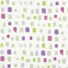 Pip - Lavender - Small squares painted randomly in grey, lime green and several shades of purple on white fabric made from 100% cotton