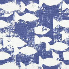 Shoal - Indigo - Royal blue and white coloured 100% cotton fabric featuring a rough, unevenly printed design of stylised fish